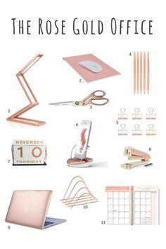 Rose gold desk accessories - rose gold scissors, rose gold stapler, rose gold pens, rose gold office supplies