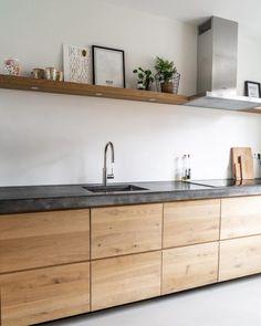 Concrete Kitchen, Wooden Kitchen, Ikea Kitchen, Home Decor Kitchen, Home Kitchens, Minimal Kitchen Design, Industrial Kitchen Design, Interior Design Kitchen, Kitchen Cabinet Design