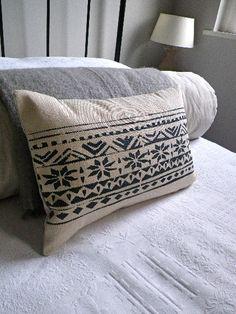 hand printed fair isle inspired cotton linen reversible cushion