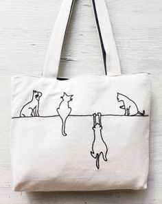 Alley cats tote / shoulder bag / minimalist line drawing / embroidery modern…