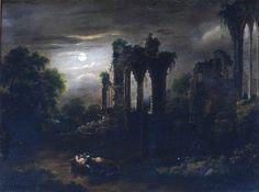 Sebastian Pether - Ruined Church by Moonlight