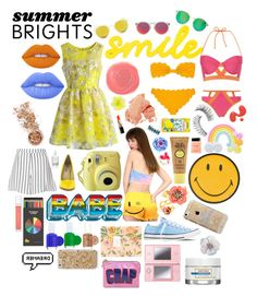 """""""SUMMER BRIGHTS- pop into summer"""" by isabel-maeve ❤ liked on Polyvore featuring Marysia Swim, Anya Hindmarch, Essie, Polite, BCBGeneration, Chicwish, Glamorous, Le Specs, Lipsy and Converse"""
