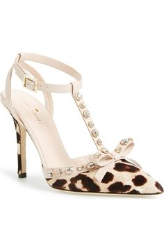 Absolutely adoring these trendy Kate Spade pumps with polished crystals, lavish leopard print and a ladylike bow.