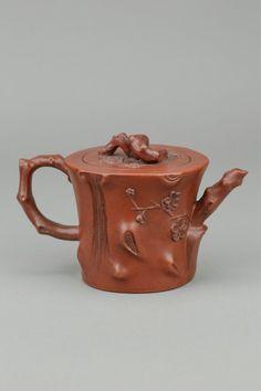 Chinese Fine Prunus Carved Zisha Teapot : Lot 372