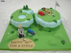 Number Golf Cake. FOUR.....  Numerical and novelty shaped 60 celebration cake with golfing theme. The cake is decorated with blue and green icing with putting green and fairway shaped tops complete with foliage.  Two golfing characters in the bunker and near the hole. Contour decorated board