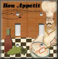 DRUNK FRENCH FAT CHEF DOUBLE LIGHT SWITCH WALL PLATES KITCHEN DINING ROOM DECOR