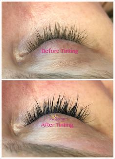 Lash tinting before&after picture. Lash tinting helps to make your lashes to show up and look longer. Eyelash Tinting, Eyebrow Tinting, Eyebrow Brush, Eyebrow Stamp, Eyebrow Stencil, Eyebrow Razor, Eyebrow Shaper, How To Draw Eyebrows, Ear Hair