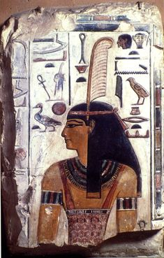 """grandegyptianmuseum: """"A fragment of a wall relief showing the upper part of an image of the goddess Ma'at wearing ostrich feather of truth, a tripartite wig, a wide usekh collar, bracelets, and a tunic supported by shoulder-straps. Her head is..."""