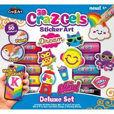 3D CraZGels is a line of 3D sticker art sets. Create 100's of cool dimensional stickers using our special 3D gel paint.  Simply paint, peel and stick!  It is easy and super fun to do!  After the stickers dry, stick and re-stick them anywhere!  Great to decorate, notebooks, lockers, cell phones, picture frames, mirrors and more!  Follow the designs included in the set or get creative and make your  Own 3D CraZGels designs!  Kids can even create their names to personalize anything!  E...