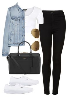 """Untitled #380"" by vintagecoutures ❤ liked on Polyvore featuring Topshop, MANGO, Yves Saint Laurent, Vans and Ray-Ban"