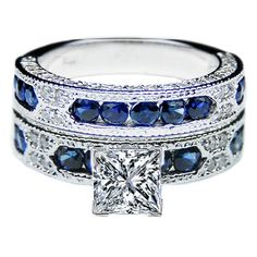 Princess Cut Diamond Vintage Engagement Ring with Blue-Sapphire Accents  Matching Wedding Band
