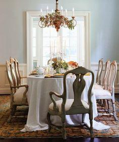 Swedish dining room. palest blue walls. warm