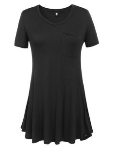Black Short Sleeve V Neck Solid Front Pocket Loose Casual Dress