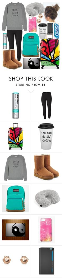 """Travel Day"" by thegreendino ❤ liked on Polyvore featuring Chapstick, Venus, Heys, Brunette, UGG, JanSport, Missguided, River Island and plus size clothing"