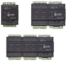 """UniPi's """"Axon"""" line of 13x DIN-rail PLC systems for smart home and building automation run Linux on an Allwinner H5, and offer GbE, WiFi, BT, and varying configurations of DIDO, analog I/O, relays, and serial I/O."""