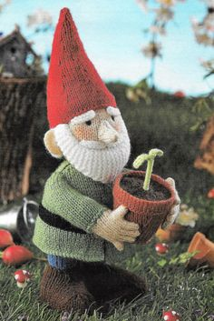Alan Dart Green Fingers the Gnome Dwarf Toy Knitting Pattern Cute elf pattern to knit from Alan Dart for your little one or for your favourite gardener.