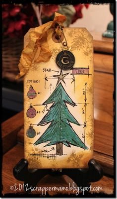Christmas Tree Blueprint Tag using Tim Holtz products