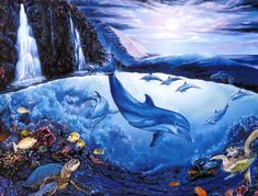 Crystal Blue Serenity ~ Belinda Leigh Underwater Animals, Underwater Art, Dolphin Art, Ocean Art, Deep Sea, Marine Life, Dolphins, Fantasy Art, Art Pieces