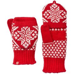 Isotoner Nordic Snowflake Flip-Top Women's Mittens, Red (34 BRL) ❤ liked on Polyvore featuring accessories, gloves, red, isotoner, leather gloves, red leather gloves, isotoner gloves and fingerless mitten gloves