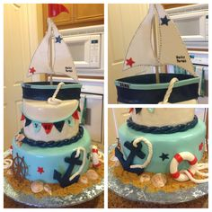 Ship Ahoy it's a boy baby shower cake!!
