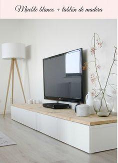 mesita o estanteria ikea blanco con tablero de madera http://www.leroymerlin.es/fp/10471685#