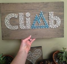 Items similar to Climb String Art Sign - Hiking Sign - Rock Climbing sign - Handmade - Mountain Sign - Outdoors Sign - Wood Sign - Rustic Sign on Etsy Cute Crafts, Diy And Crafts, Arts And Crafts, Rock Climbing Quotes, String Art Patterns, Button Art, Art Projects, Project Ideas, Craft Ideas