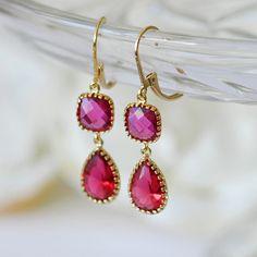 Ruby earrings July birthstone jewelry Red ruby by joojooland, $39.00