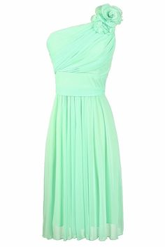 Swirled Famous One Shoulder Dress in Mint