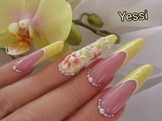 Acrylic Nails At Home, Long Acrylic Nails, Acrylic Nail Designs, Nail Art Designs, Korean Nail Art, Super Cute Nails, French Nail Art, Luxury Nails, Bling Nails
