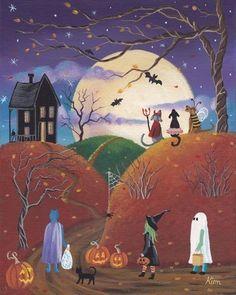Raven Hill Halloween Folk Art 10 x 8 Print by KimsCottageArt Photo Halloween, Halloween Vintage, Halloween Prints, Halloween Pictures, Halloween Night, Halloween Art, Holidays Halloween, Halloween Decorations, Rustic Halloween