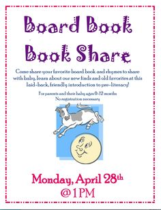 Board Book Book Share at the Westwood Public Library....