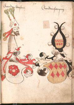 Wernigeroder (Schaffhausensches) Wappenbuch Süddeutschland, 4. Viertel 15. Jh. Cod.icon. 308 n  Folio 57r