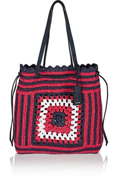 Red, navy and white raffia, navy suede (Lamb)  Drawstring top Comes with dust bag Weighs approximately 2.4lbs/ 1.1kg