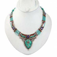 Silver Tone Metal Turquoise Stone Necklace Nepal Fashion Women Jewellry Gift Indian Jewelry Sets, Fashion Women, Latest Fashion, Metal Necklaces, Turquoise Stone, Fashion Jewelry, Women Jewelry, Jewelry Trends, Nepal