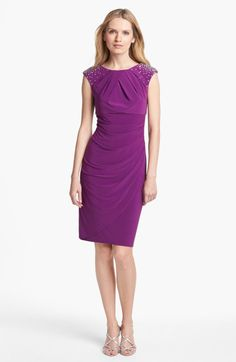 Alex Evenings Embellished Gathered Sheath Dress Petite in Purple (berry) Purple Bridesmaid Gowns, Vintage Bridesmaid Dresses, Knee Length Bridesmaid Dresses, Bridesmaids, Military Ball Gowns, Alex Evenings, Beaded Chiffon, Petite Dresses, Sheath Dress