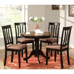 Shop East West Furniture ANTI Antique Round Table Dining Set With  Microfiberu2026
