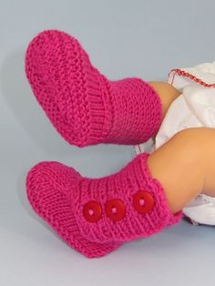 Printed Instructions-Baby 3 Button Booties, Boots, Bootees, Knitting Pattern