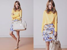 Woakao Skirt, Woakao Sweater, Persunmall Necklace, Mango Wedges, Paulina Schaedel Bag
