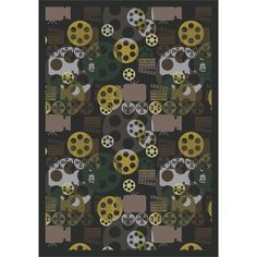 Home Theater Themed Area Rug Movie Reels Stars Silver