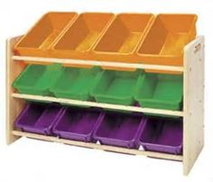 You could make a toy storage bin with the same concept as the pvc tote shelf only angling your storage bins instead of sitting them flat. Kids Room Organization, Playroom Ideas, Organization Ideas, Storage Ideas, Toy Storage Bins, Pvc Projects, Organize Your Life, Home And Living, Kid Rooms