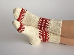 Your place to buy and sell all things handmade natural wool. This socks are hand knitted from the wool yarn of unbleached white and dark terracotta color. Crochet Socks, Knitting Socks, Hand Knitting, Knit Socks, Knitting Charts, Soft Slippers, Slipper Socks, Woolen Socks, Socks For Sale
