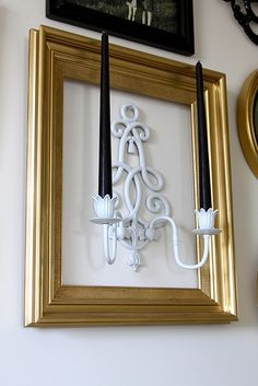 This has many design options depending on the frame, the addition of wallpaper or cardstock and a simple oval wooden plaque painted or papered behind the sconce. Empty Picture Frames, Picture Frame Decor, Frame Wall Decor, Frames On Wall, Empty Frames Decor, Wall Mirror, Wall Art, Diy Home Decor, Room Decor