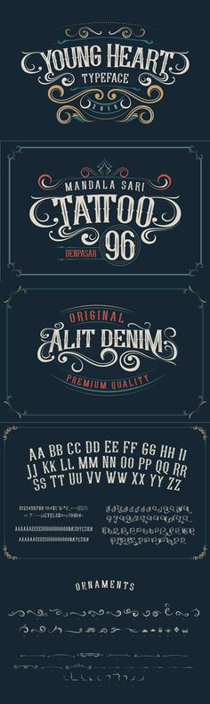 Young Heart - Introducing Young Heart Typeface western style display font. OpenType features with Stylistic...