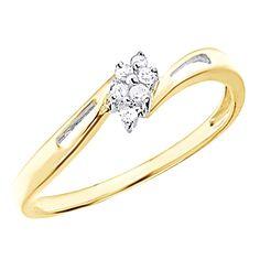 Round Cut D/VVS1 Diamond Cluster Promise Ring 14K Yellow Gold Over $999 #AffinityFashionJewelry #Promise #EngagementWeddingAnniversaryPromiseValentines