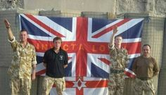 """UK soldiers on duty in Afghanistan somewhere around 2010 performing the Nazi-salute in front of the Union Jack with the inscription """"Invicta Loyal"""", the name of a Kent-based Glasgow Rangers supporters club. Also pictured is the Ulster Banner, a Northern Ireland loyalist symbol. Bush Jr, Military News, Pop Culture References, Confederate Flag, British Soldier, Islamic World, Knights Templar, North Africa, Symbols"""