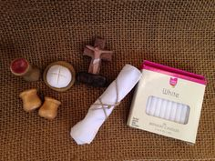 Mini Altar Set With Wood Table and Polymer Clay Pieces Mass