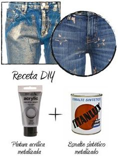 Painted Jeans, Painted Clothes, Denim Fashion, Fashion Pants, Fashion Outfits, Look Patches, Customised Denim Jacket, Metallic Jeans, Diy Shorts