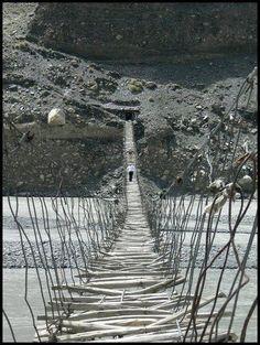 Passu valley suspension bridge in uper HUnza Gojal, Northern area Pakistan.