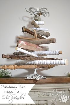 Vintage style Christmas tree made from old spindles turned in many directions | countrydesignstyle.com