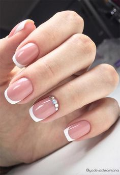 27 Fresh French Nail Designs: French Manicure at Home doen - Nageldesign French Nails, French Manicure Kit, Glitter French Manicure, French Manicure Designs, Diy Nail Designs, Colorful French Manicure, French Manicures, Manicure Rose, Manicure At Home